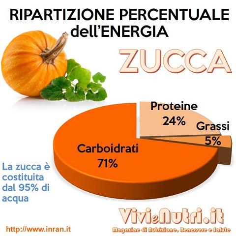 ripartizione dell'energia dei principali nutrienti della zucca