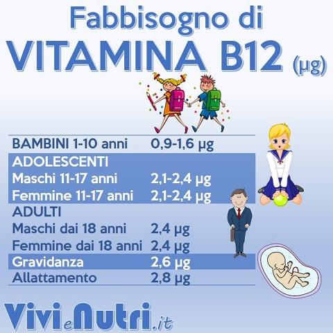 fabbisogno vitamina b12: bambini, adolescenti, adulti, gravidanza, allattamento