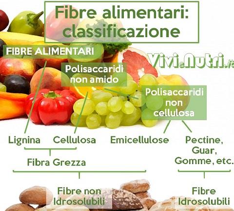 Esistono diversi tipi di fibre alimentari: esse sono classificate in base al loro comportamento in acqua in fibre non idrosolubili e fibre idrosolubili.