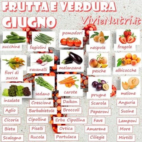 frutta e verdura e legumi di stagione nel mese di giugno