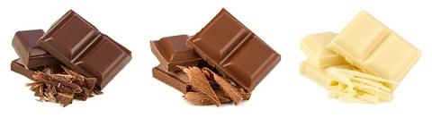 cioccolato al latte, cioccolato fondente,  cioccolato bianco