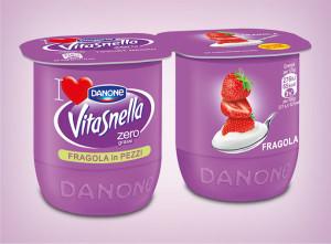 Danone Vitasnella Fragola in Pezzi -Zero grassi
