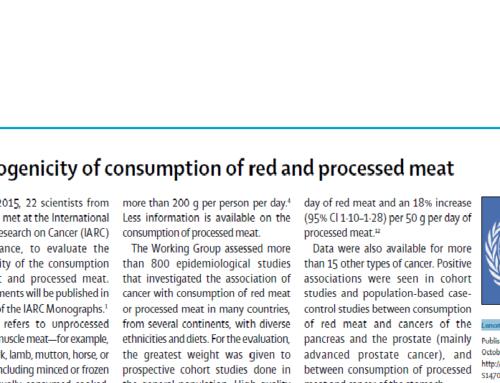Cancerogenicità sul consumo di carne rossa e processata
